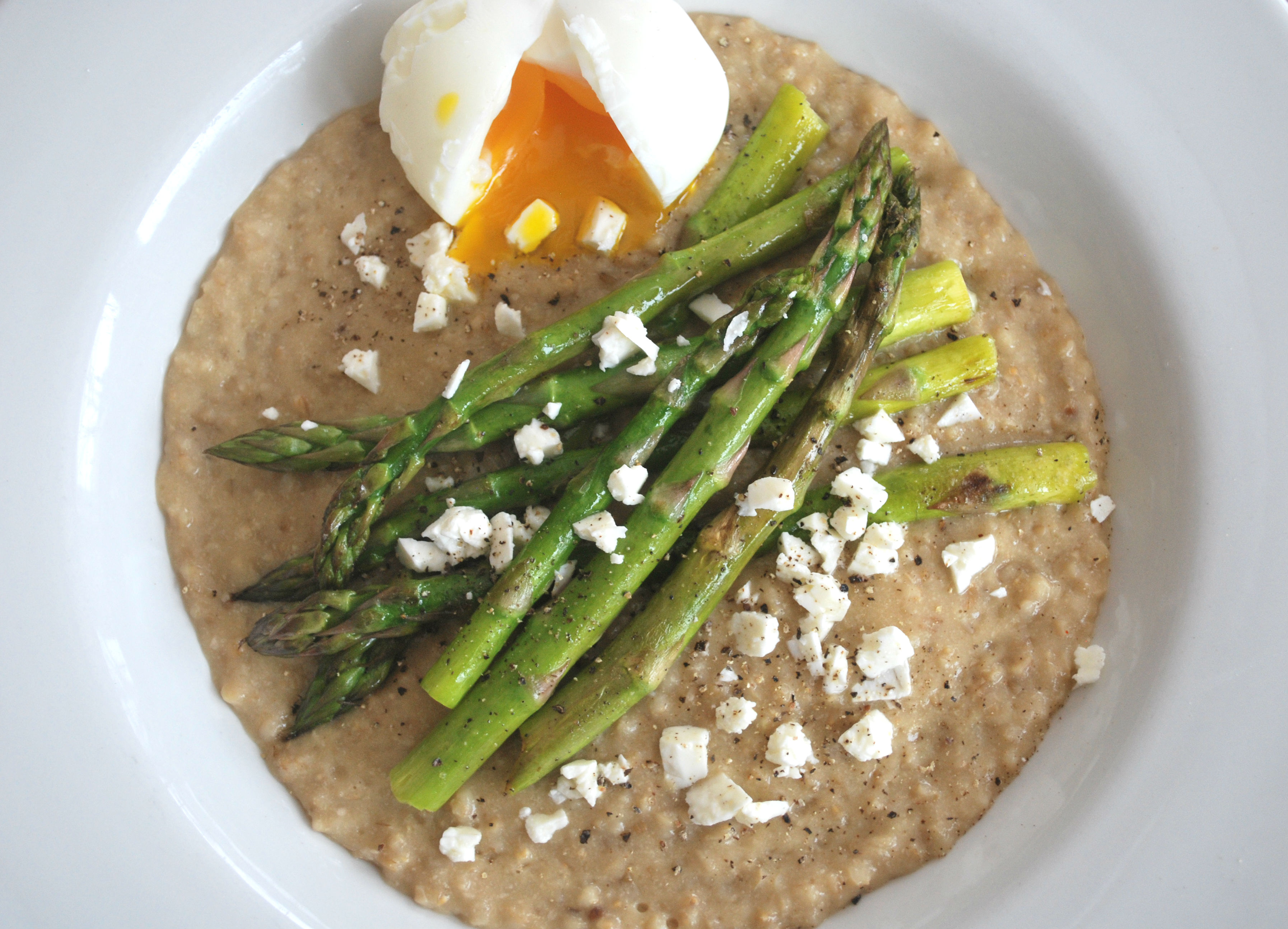 Soft Boiled Egg and Asparagus on Oats