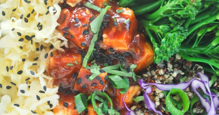korean bbq tofu bowl. Tofu with a spicy gochujang bbq sauce with broccolini and quinoa #tofu #korean #gochujang #easy #asian #quinoa #weeknight #vegan #vegetarian