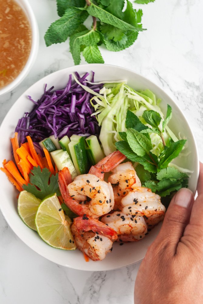 a bowl of Vietnamese shrimp salad