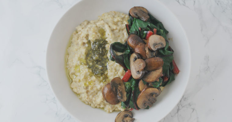Savoury Steel Cut Oats with Chimichurri