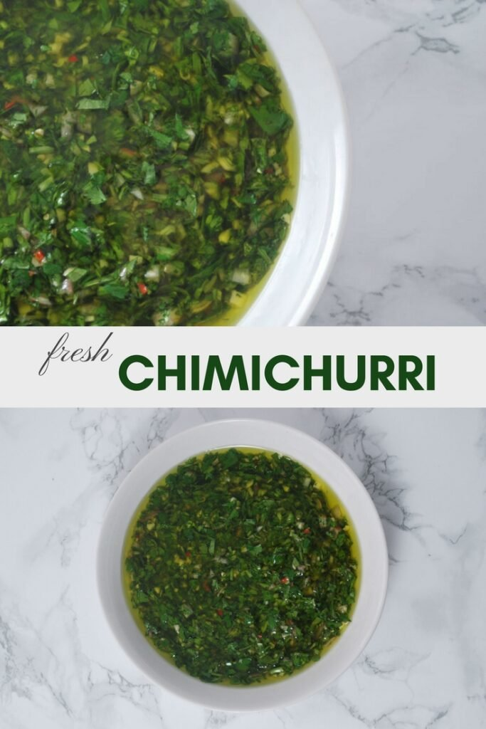 chimichurri sauce in a bowl