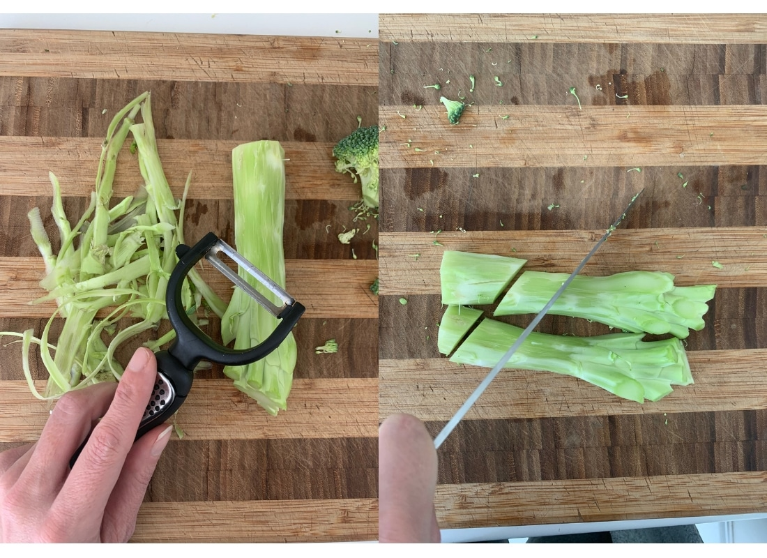 a photo collage of broccoli stalks being peeled and sliced