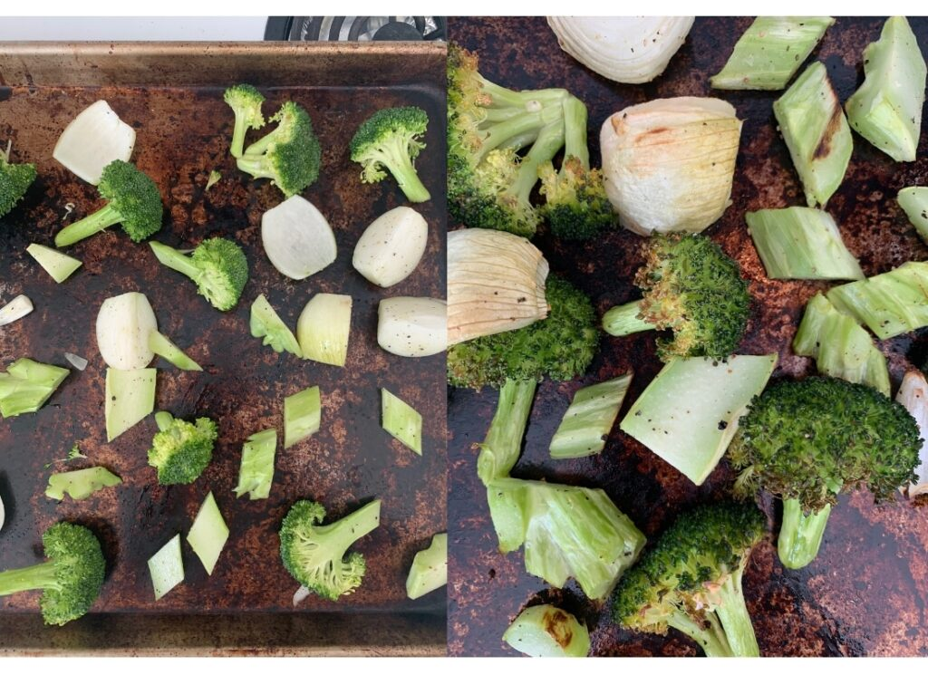 a photo collage of broccoli on roasting trays