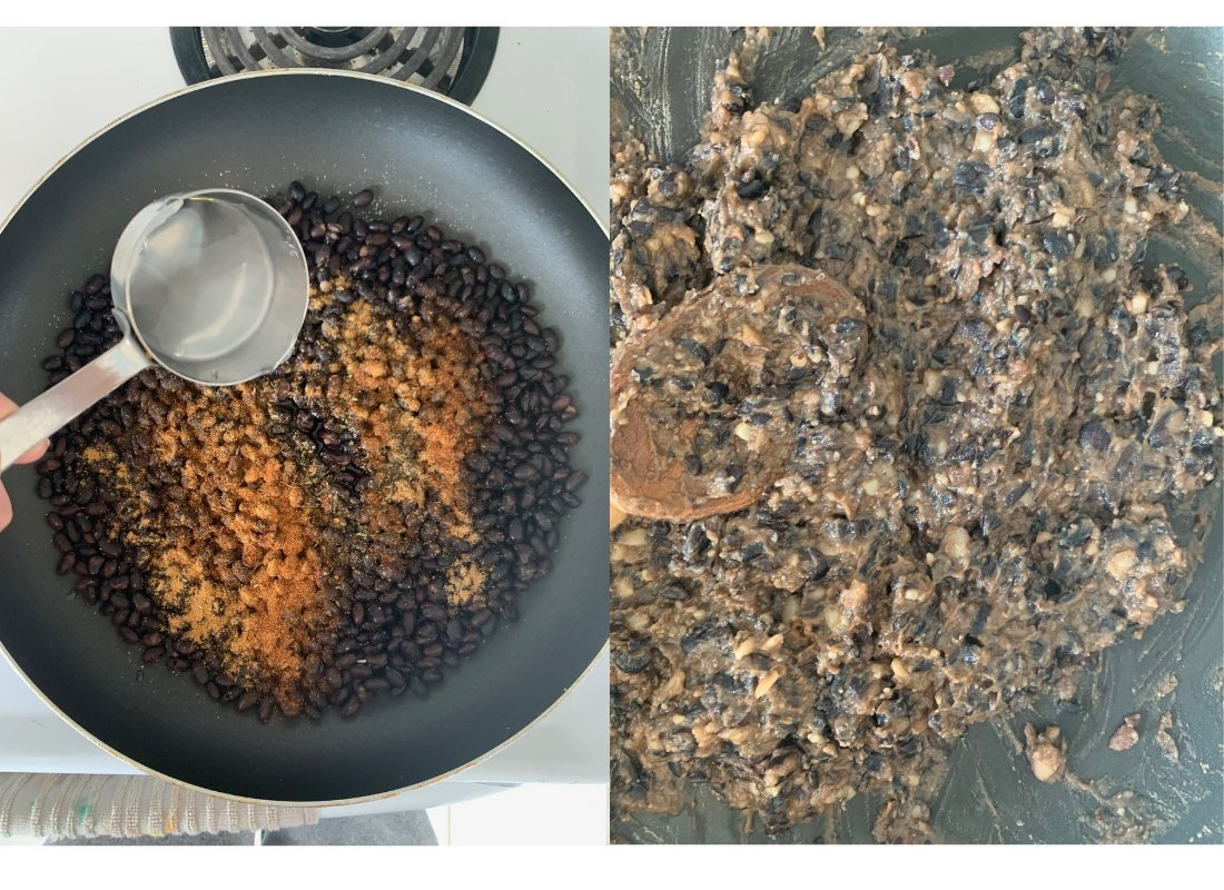 A photo collage of refried black beans being cooked.