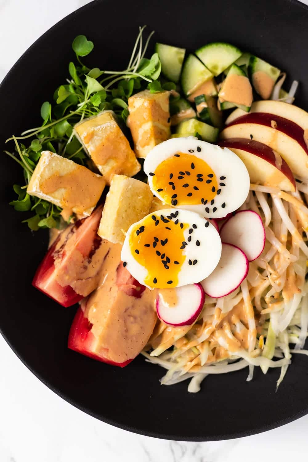 a top down view of gado gado salad
