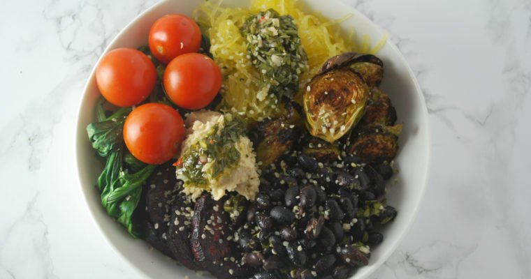 Vegan Roasted Winter Vegetable Bowl with Chimichurri