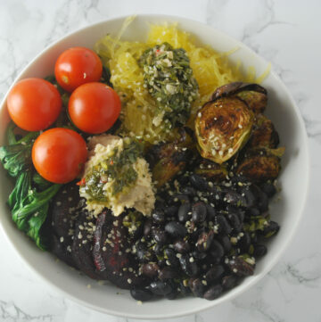 vegan roasted winter vegetable bowl