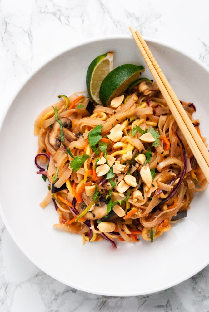 a bowl of vegetable pad Thai