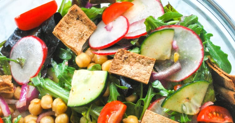 Chickpea Fattoush Salad loaded with vegetables and a tangy sumac and lemon dressing