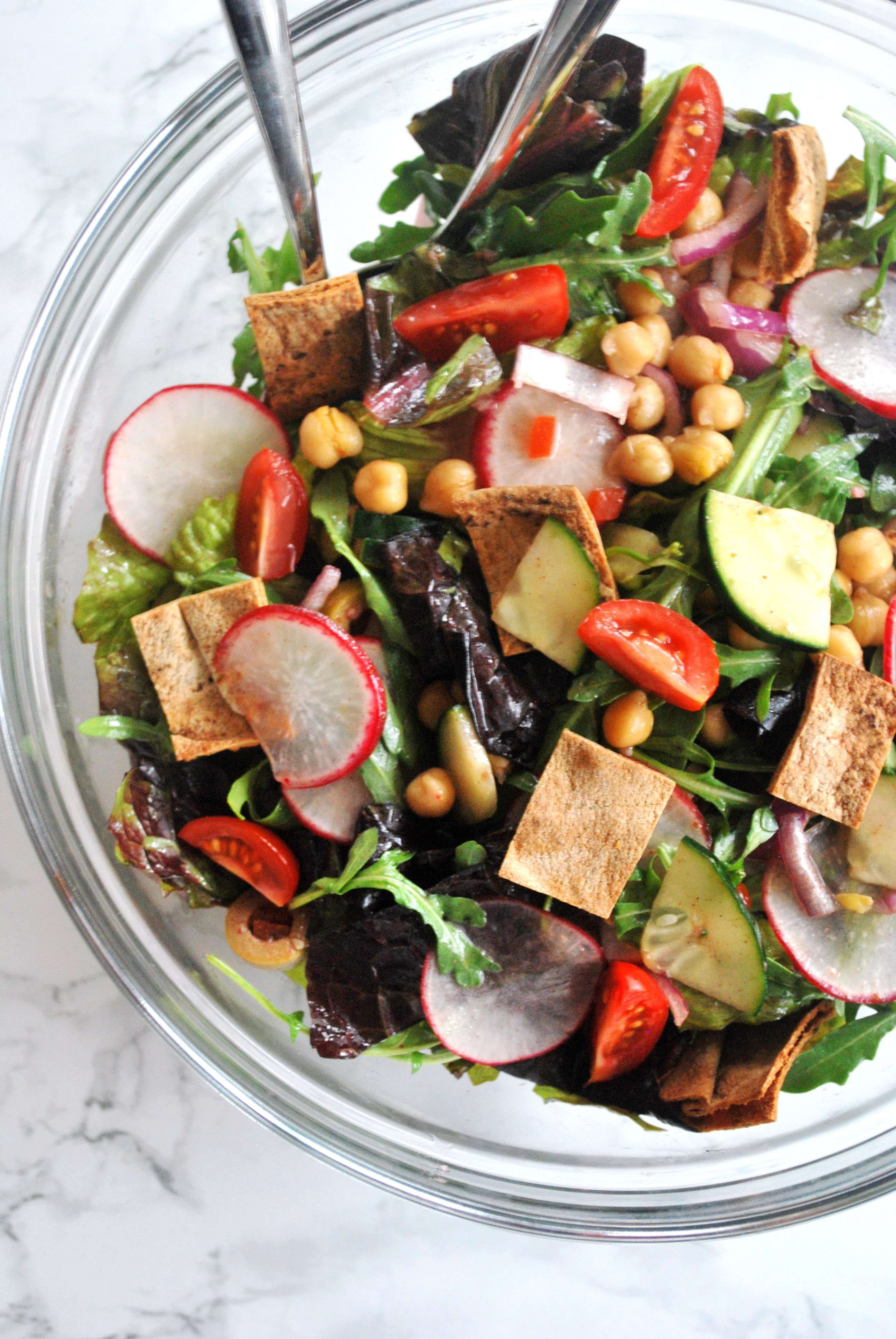 a bowl of chickpea fattoush salad