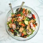 fattoush salad with chickpeas and a tangy lemon sumac dressing
