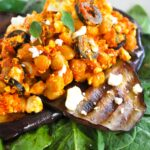 chickpea salad with grilled eggplant