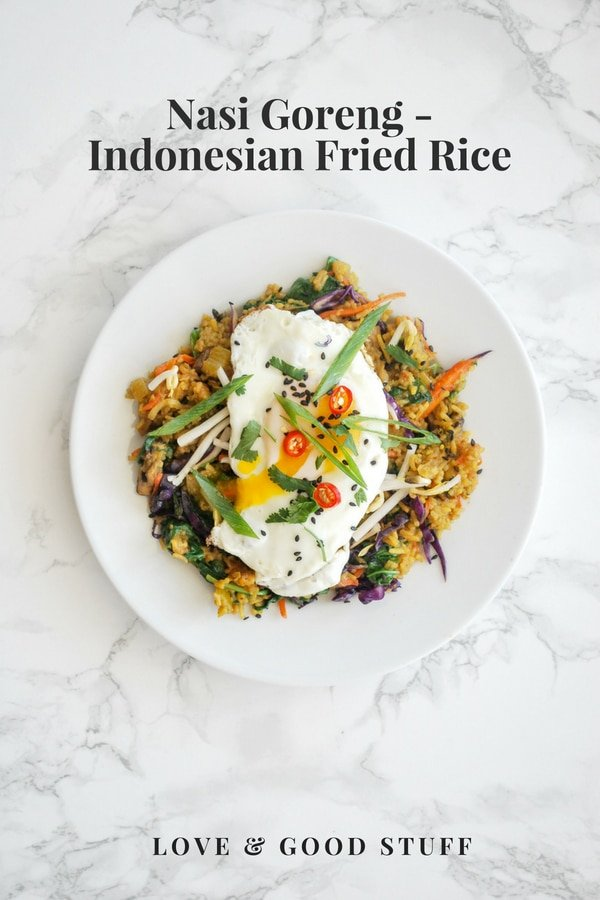 Nasi Goreng - Indonesian friend rice. Fragrant spices combine with leftover rice and vegetables to make a quick, easy, and tasty vegetarian meal. #Indonesian #rice #vegetarian #easy #healthy