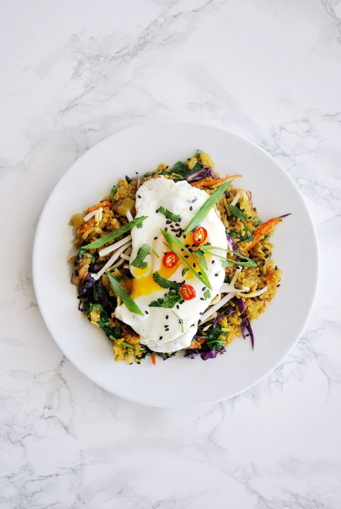 a plate of nasi goreng, Indonesian Fried Rice