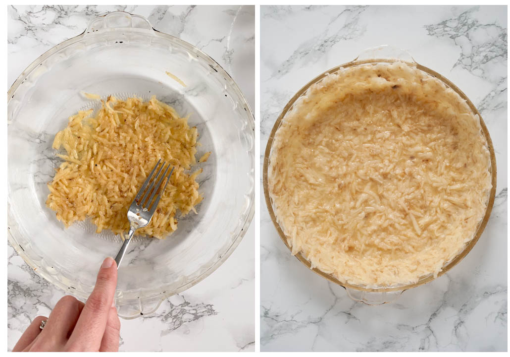 pressing the shredded potato into a crust