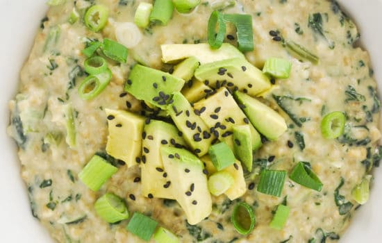 Miso Oatmeal with Kale and Avocado