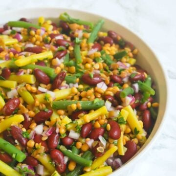 Easy Bean Salad with lentils #healthy #easy #lentils #simple #beans #salad