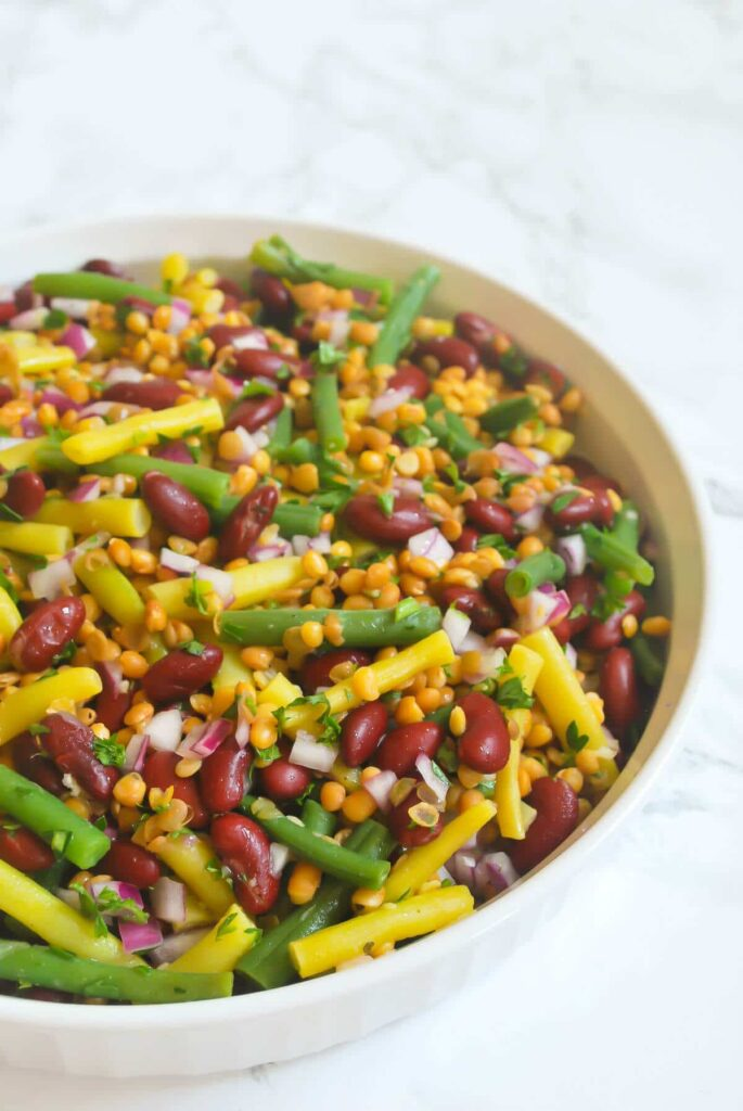 Easy Bean Salad with lentils #healthy #easy #lentils #simple #beans #salad