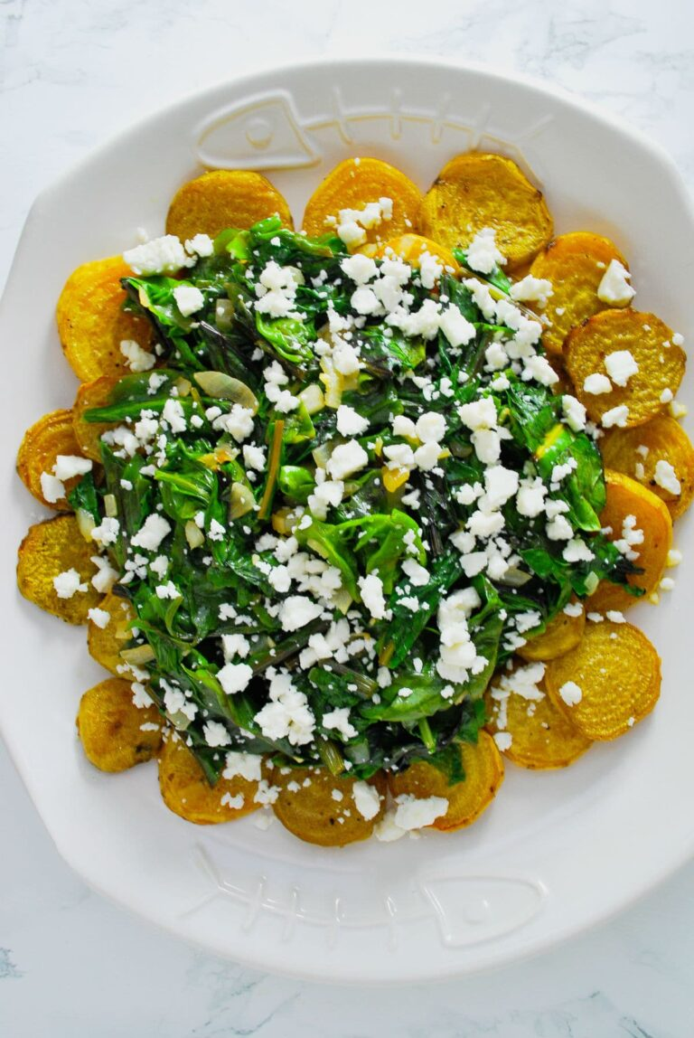Roasted Golden Beets with Wilted Greens and Crumbled Feta Cheese #roasted #golden #beets #withfeta #easy