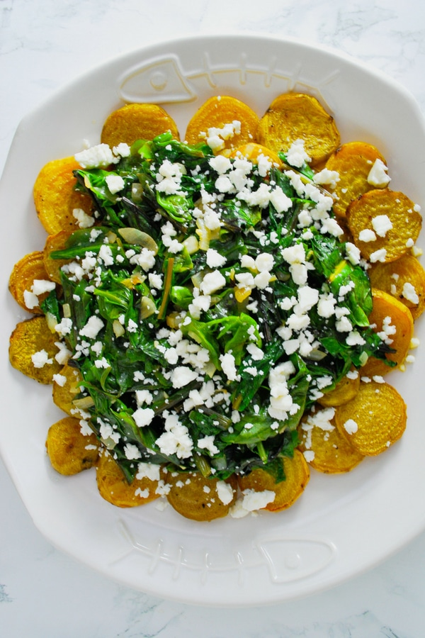 Roasted Golden Beets with Wilted Greens and Crumbled Feta Cheese #beets #golden #roasted #greens #withfeta #easy