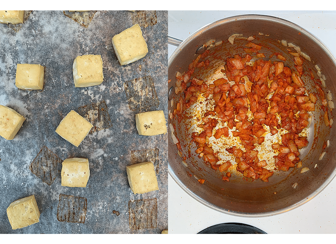 A photo collage of baked tofu cubes on a pan and a pot of onions and curry paste cooking.