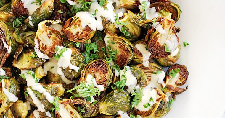 Roasted Brussels Sprouts with Lemon Tahini Sauce