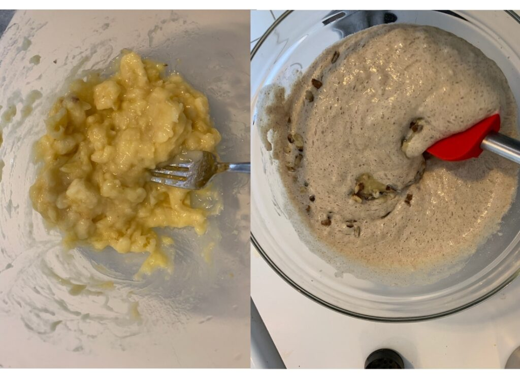 a bowl with lightly mashed banana, and a bowl containing banana walnut pancake batter