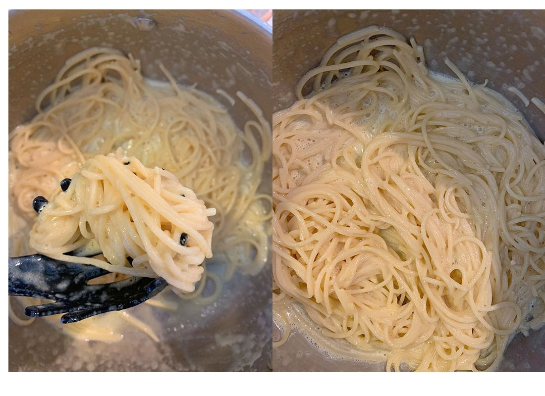 A pot full of spaghetti and slightly cooked carbonara sauce.