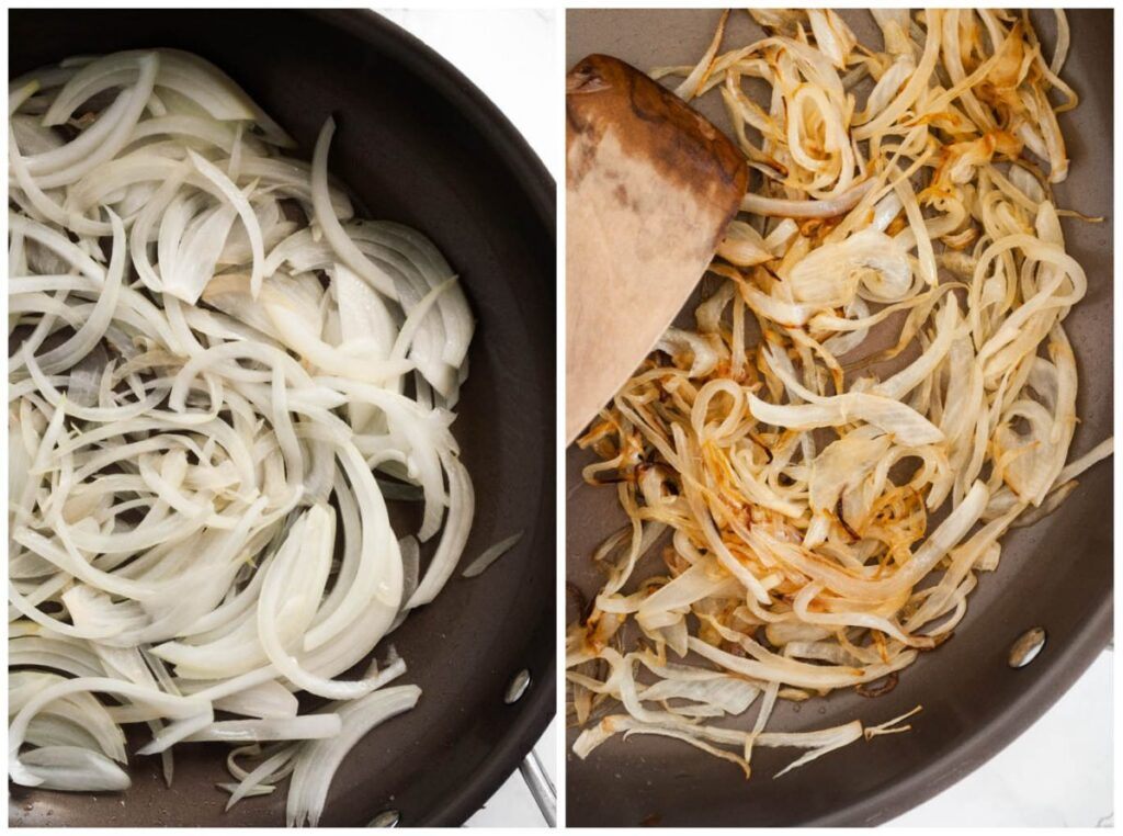 a photo collage of onions carmelizing in a skillet