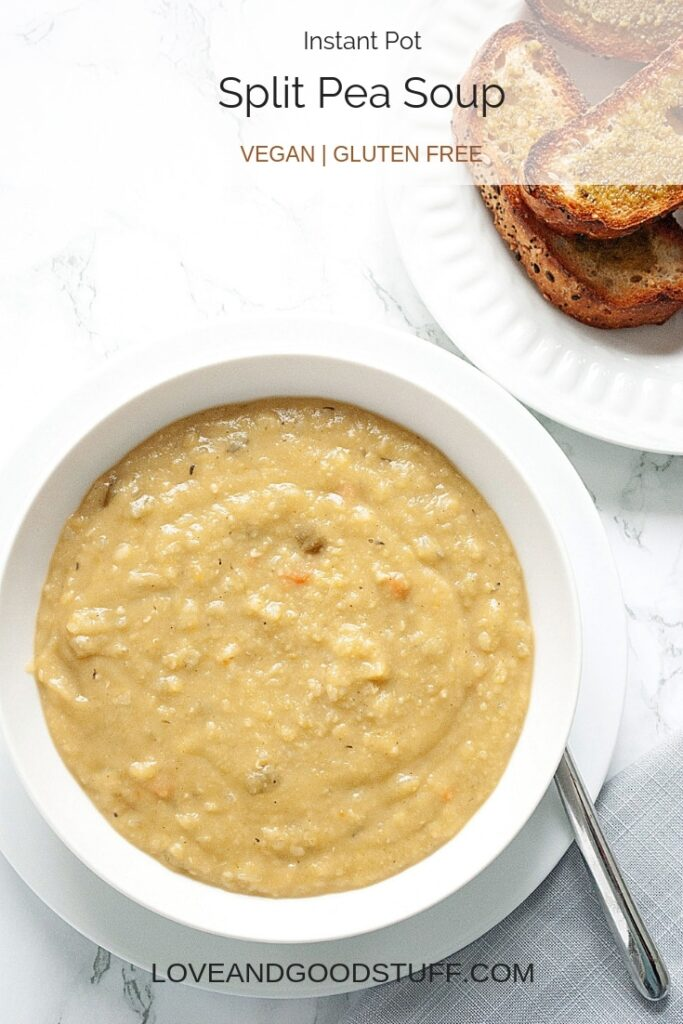 a bowl of vegan split pea soup served with a side of toasted bread