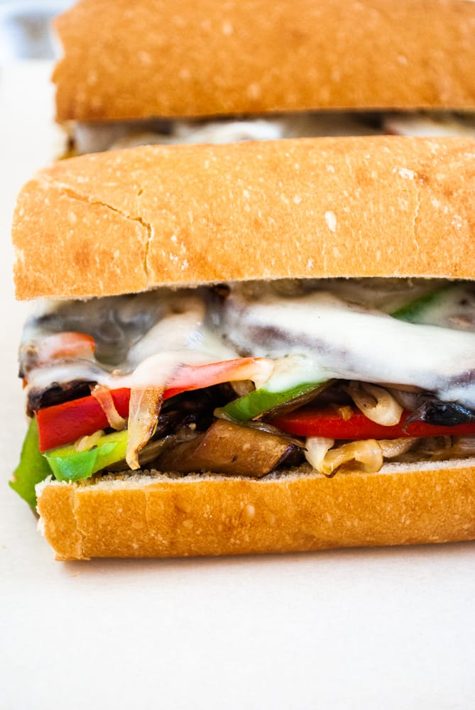 hoagie rolls stuffed with sauteed mushrooms, onions and green peppers topped with sliced provolone cheese