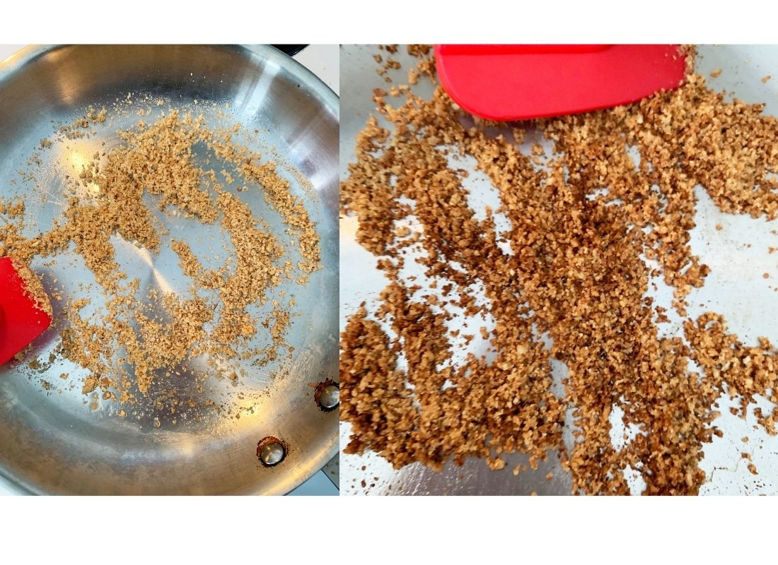 A photo montage of breadcrumbs being toasted in a stainless steel pan.