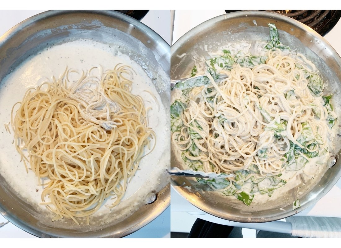 A photo montage of spaghetti and spinach being mixed into gorgonzola sauce.