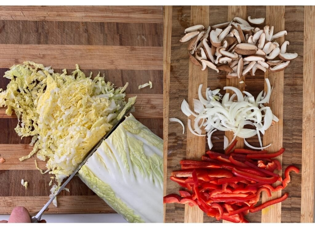 photos showing the preparation of the vegetables to make vegan singapore noodles