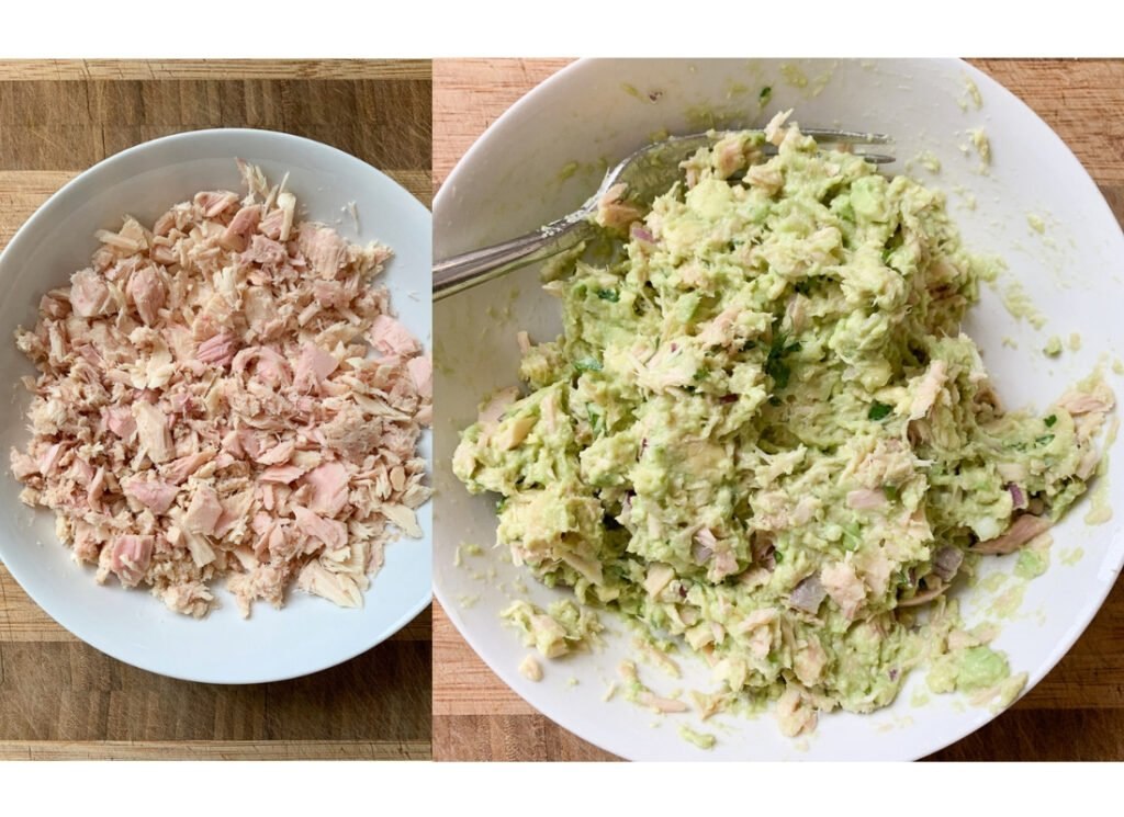 a collage of photos of a bowl of flaked tuna and a bowl of avocado tuna salad sandwich