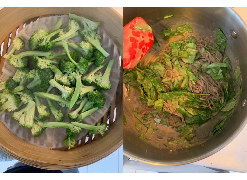 a collage of broccoli in a steamer basket and mixing spinach and sauce into soba noodles
