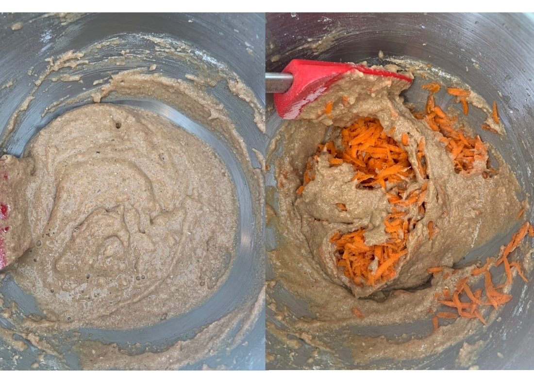 A photo montage of flour then carrot being incorporated into the batter.