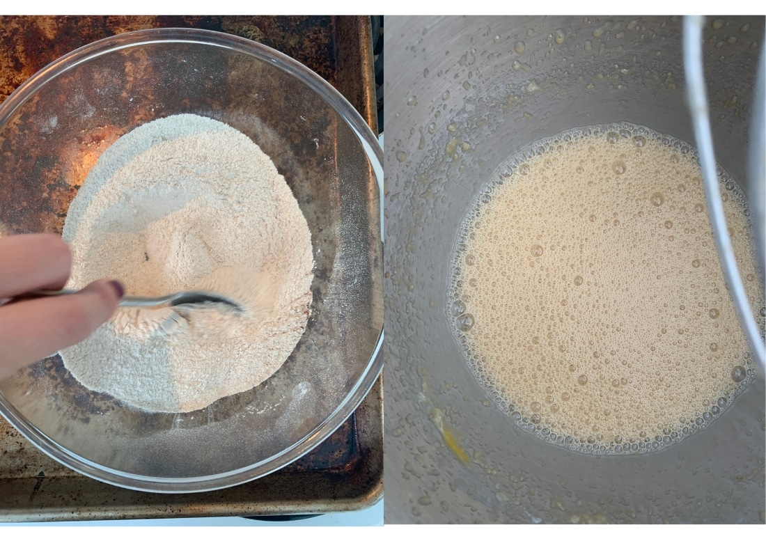 A photo montage of dry ingredients combined and wet ingredients combined.
