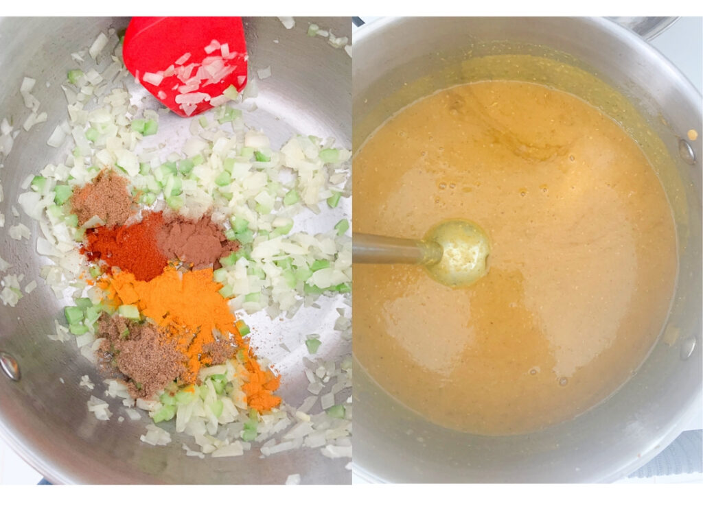 a photo collage showing the spices and vegatables being sauteed and the soup being blended