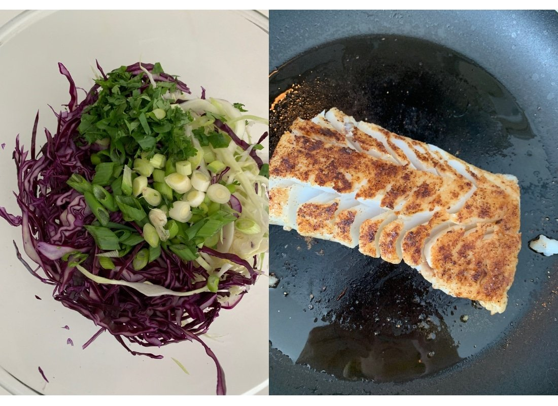 A photo collage of a bowl of cilantro lime slaw ingredients and seasoned cod being pan-seared.