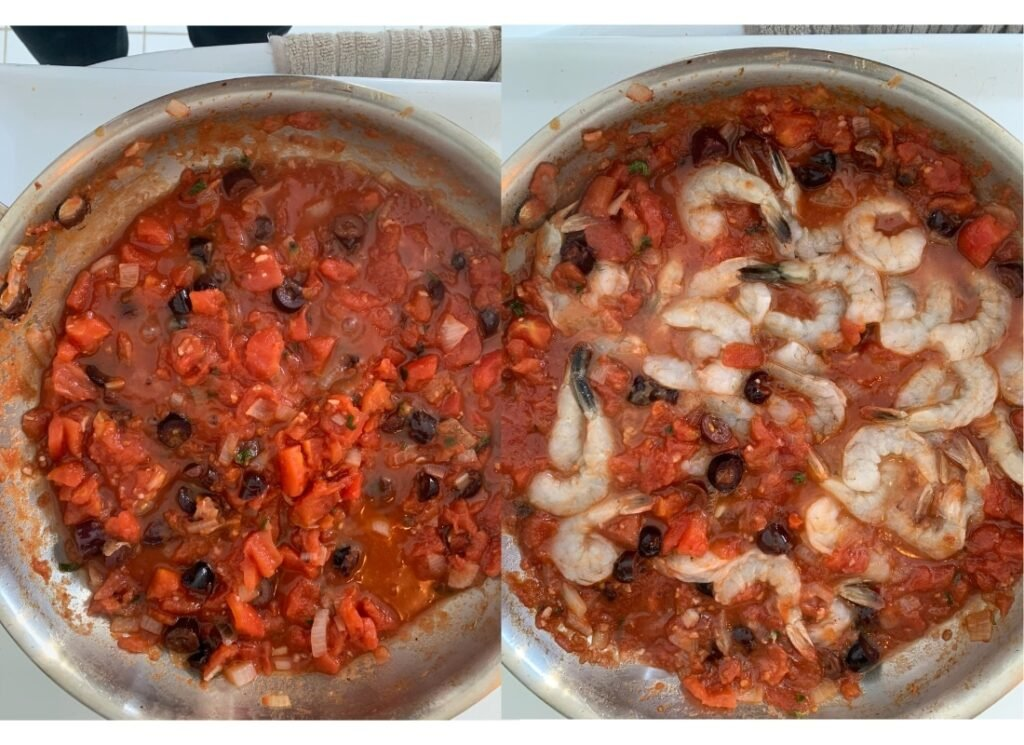 a photo collage of simmering Greek style tomato sauce and shrimp being cooked in it