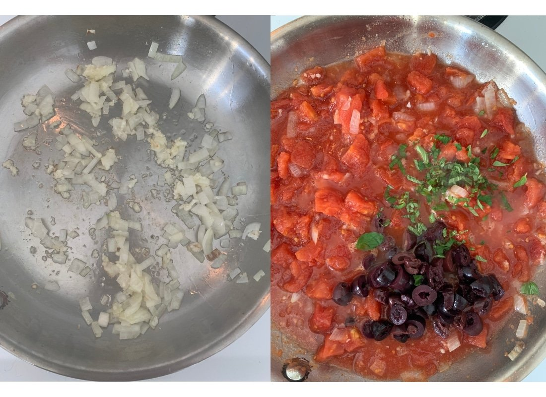 A photo collage of onion being sautéed in a pan and then adding tomatoes.