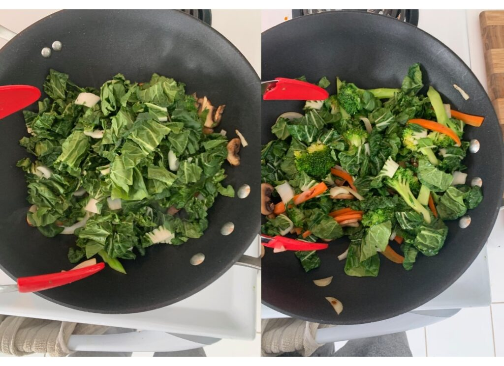 A photo collage of stir frying vegetables
