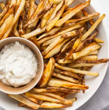 a bowl of crispy oven fries
