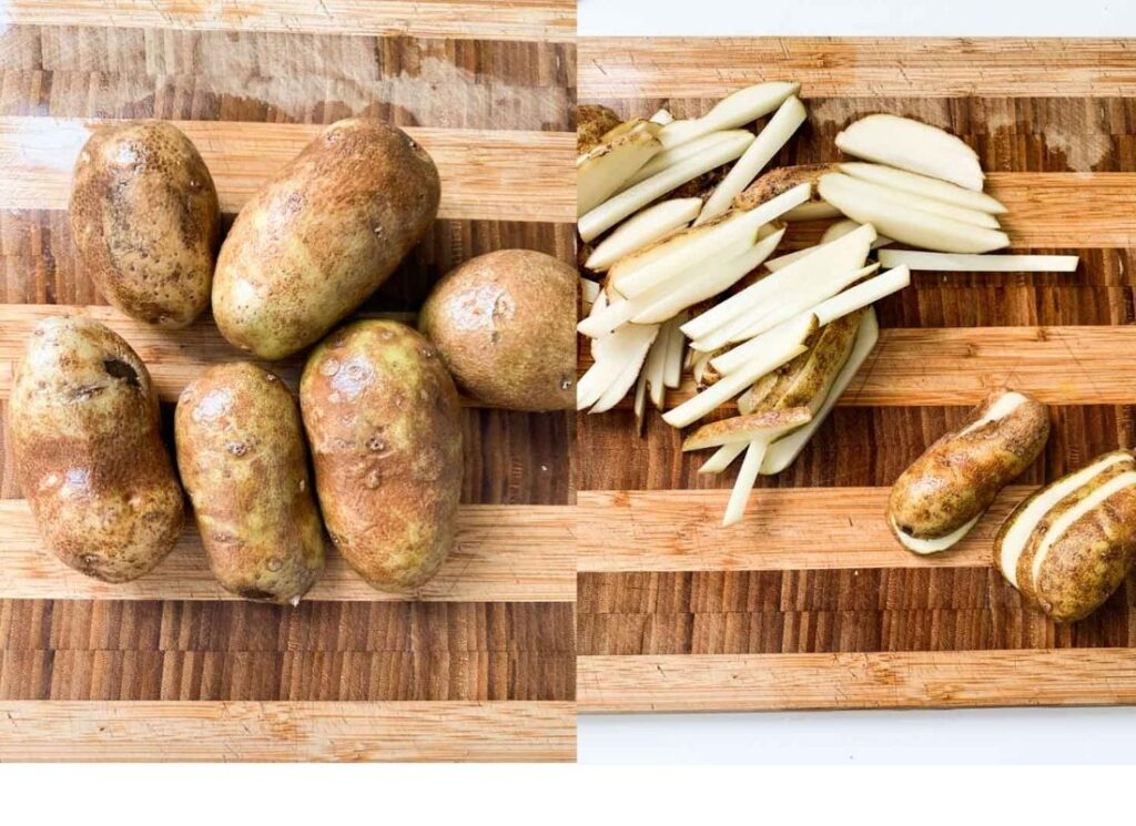 a photo collage of russet potatoes and fries cut from russet potatoes