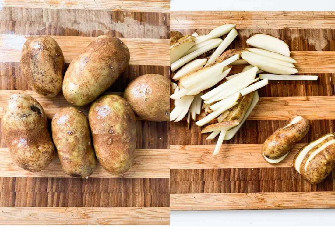 A photo collage of russet potatoes and fries cut from russet potatoes.