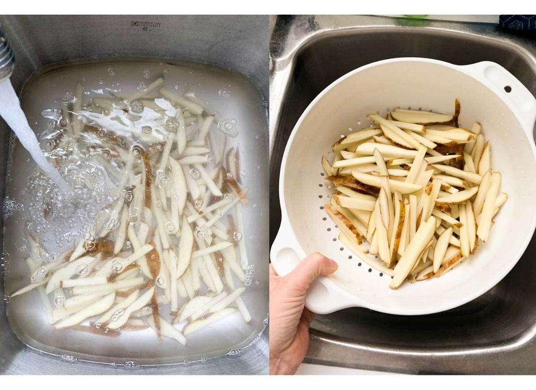 A photo collage of fries rinsing in the sink and a colander full of fries.