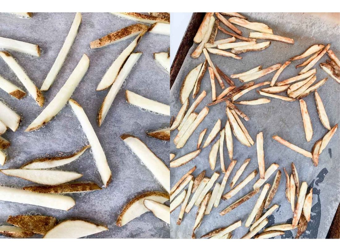A photo collage of fries halfway cooked from a hot oven and fully cooked crispy oven fries.
