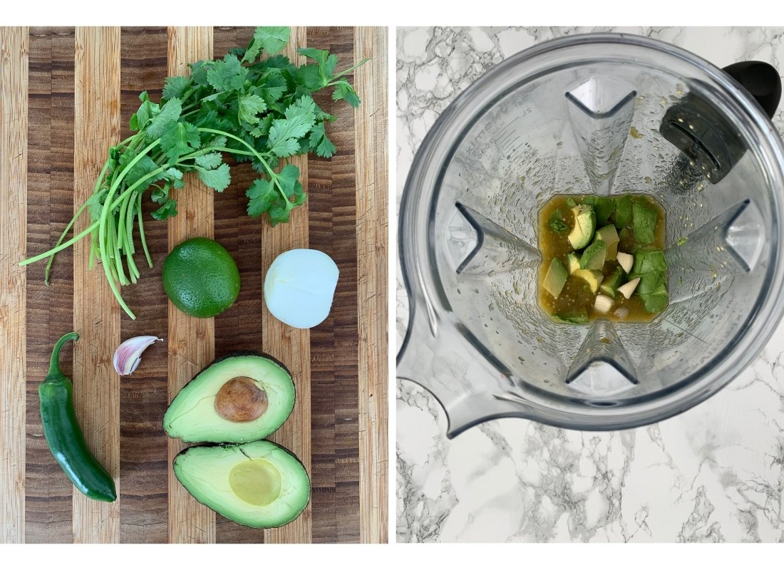A photo collage of avocado salsa ingredients on a cutting board and a blender mixing them up.