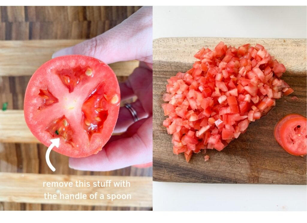 a photo collage showing where to seed the Roma tomatoes, and the final diced tomatoes.